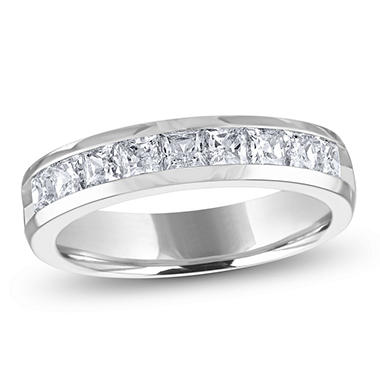 1.00 ct. t.w. Channel-Set Princess Diamond Band in 14K White Gold (H-I, I1)