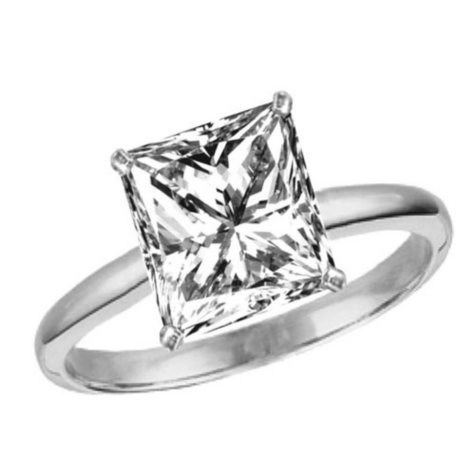 0.78 ct. Princess-Cut Diamond Solitaire Ring (F, VS2)