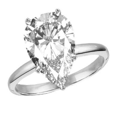 Pear Shape Diamond Solitaire Ring D If
