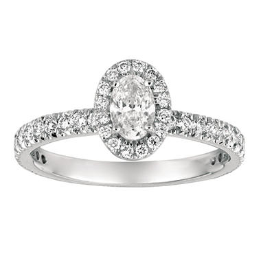 1.00 CT. TW. Oval-Cut Diamond Halo Ring 14K White Gold (I, I1)