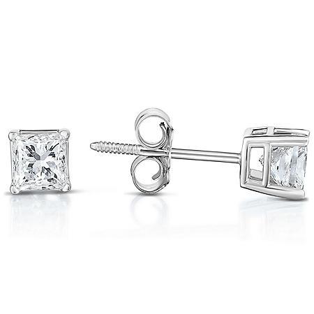 0.72 CT T.W. Princess-Cut Diamond Stud Earrings in 14K White Gold (I, I1)