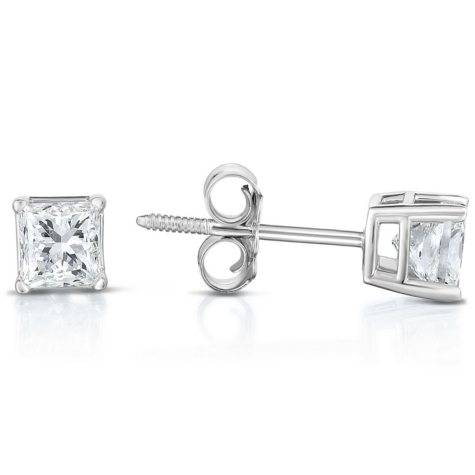 0.72 CT T.W. Princess-Cut Diamond Stud Earrings in 14K White Gold (I, I1)