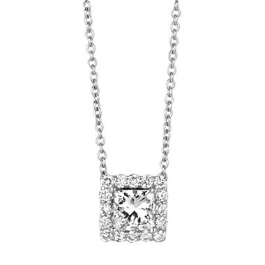 stone white diamond pendant gold cut princess image five