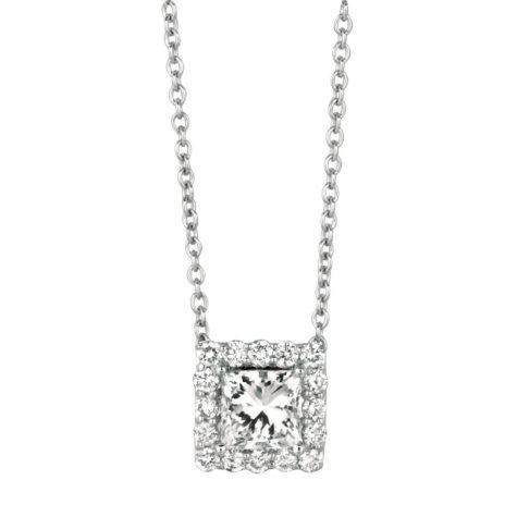 .50 CT. TW. Princess-Cut Diamond Halo Pendant 14K White Gold (I, I1)
