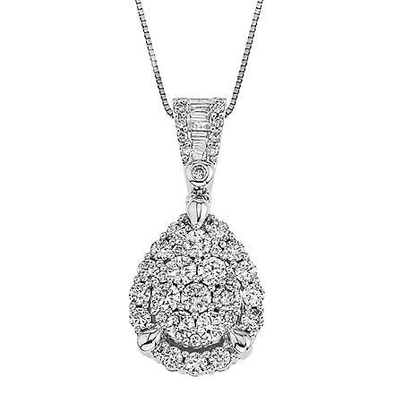 0.98 CT. T.W. Diamond Pear Shaped Pendant in 14K White Gold (H-I I1)