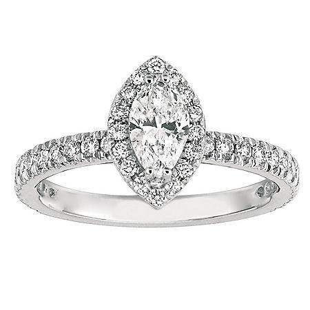1.00 CT. TW. Marquise-Cut Diamond Halo Ring 14K White Gold (I, I1)