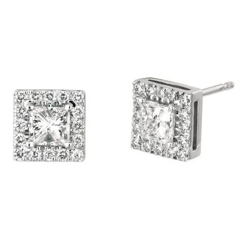 1.00 CT. TW. Princess-Cut Diamond Halo Earrings 14K White Gold (I, I1)