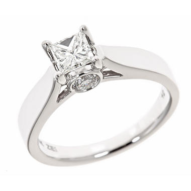 0.96 CT.T.W. Princess Center Diamond Solitaire Plus Ring in 14K White Gold (H-I, I1)