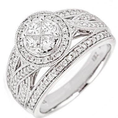 0.90 CT.T.W. Seri Framed Diamond Ring in 14K White Gold (H-I, I1)