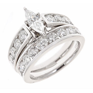 tw marquise and round diamond engagement ring set in 14k white gold h i i1 sams club - Marquis Wedding Ring