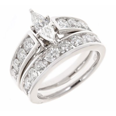 295 CTTW Marquise and Round Diamond Engagement Ring Set in 14K