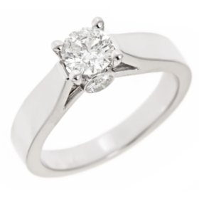 0.96 CT.T.W. Round-Cut Diamond Solitaire Plus Ring in 14K White Gold (H-I, I1)