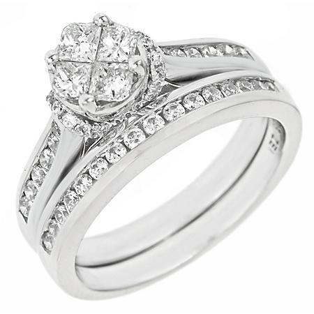 0.90 CT.T.W. Seri Diamond Ring Set in 14K White Gold (H-I, I1)