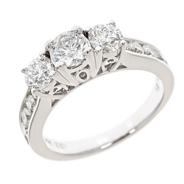1.95 CT.T.W. 3-Stone Round Diamond Ring in 14K White Gold (H-I, I1)