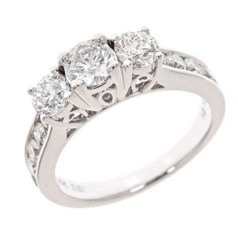 1.95 CT.T.W. 3-Stone Round Diamond Ring in 14K White Gold (H-I, I1)