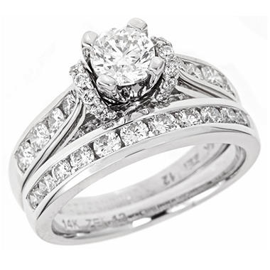 2 00 CT T W Regal Diamond Engagement Ring Set in 14K White Gold