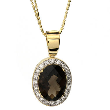 6.80 t.w. Smoky Quartz and 0.38 t.w. Diamond Medallion Pendant