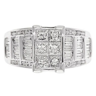 1.95 CT.T.W. Princess, Round & Baguette Cut Diamond Engagement Ring Set in 14K White Gold (I, I1)