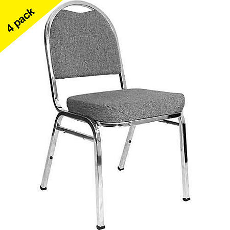 Chrome Stack Chair with Pepper Fabric - 4 pk.