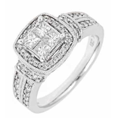 096 CTTW InvisibleSet Princess Diamond Ring in 14K White Gold