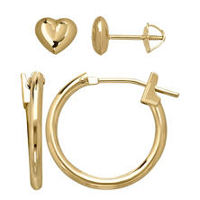 Children's Hoop and Heart Earring Set in 14K Yellow Gold