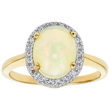 Oval Opal Ring in 14K Yellow Gold