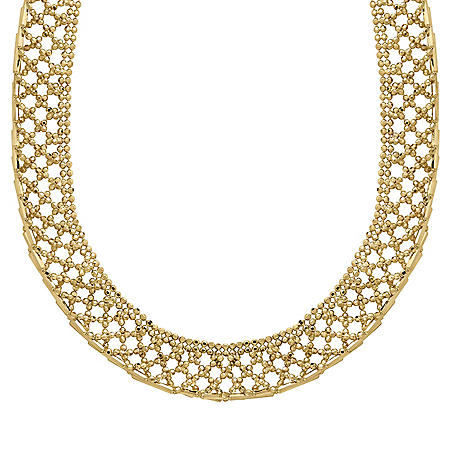 14k Yellow Gold Criss Cross Beaded Necklace