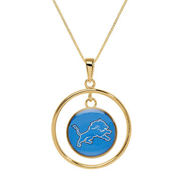 Detroit Lions Double Drop Gold Necklace