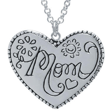 Sterling Silver Mom Heart Pendant