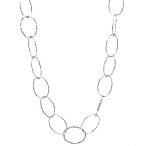 "Sterling Silver 30"" Open Oval Link Necklace"