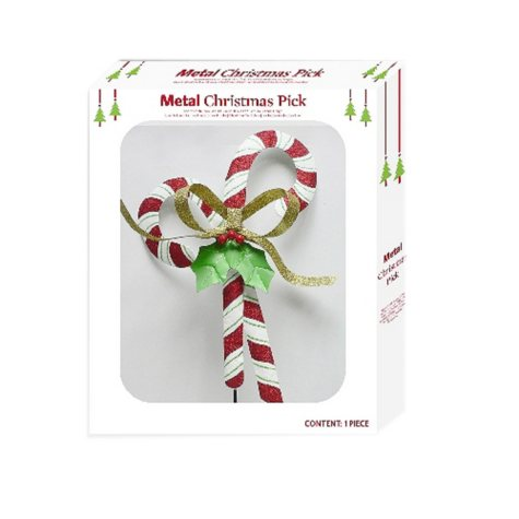 Metal Christmas Pick - Candy Cane