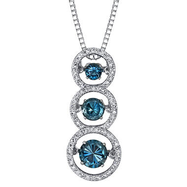 3 Stone London Blue Topaz and .18 ct. t.w. Diamond