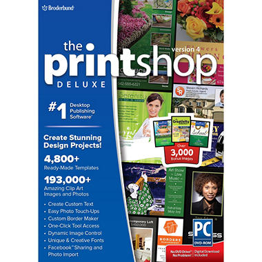 The Print Shop Deluxe 4.0 with Bonus RF Home and Garden, RF School, & Creativity Collections Birthday
