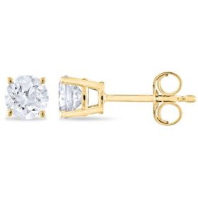 T W Round Diamond Stud Earrings In 14k Yellow Gold H I Si2