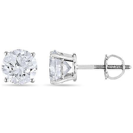 1.45 CT. T.W. Round Diamond Stud Earrings in 14k Gold