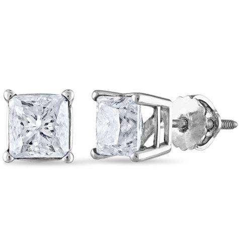 1.95 CT. T.W. Princess Diamond Stud Earrings in 14K Gold (I, I1)
