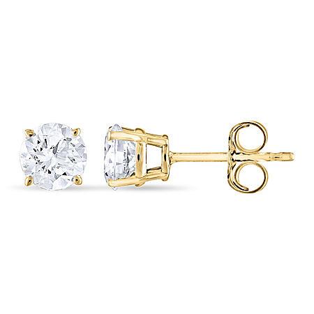 0.96 CT. T.W. Round Diamond Stud Earrings in 14K Yellow Gold
