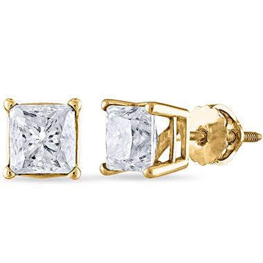 1.95 CT. T.W Princess Diamond Stud Earrings in 14k White or Yellow Gold (I, I1)