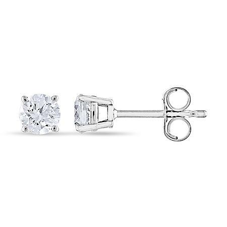 0 47 CT  T W  Round Diamond Stud Earrings in 14K Gold (I, I1