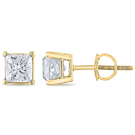 1.45 CT. T.W. Princess Diamond Stud Earrings in 14K Gold (H-I, SI2)