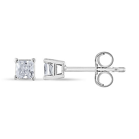 0.23 CT. T.W. Princess Diamond Stud Earrings in 14k Gold (H-I, SI2)