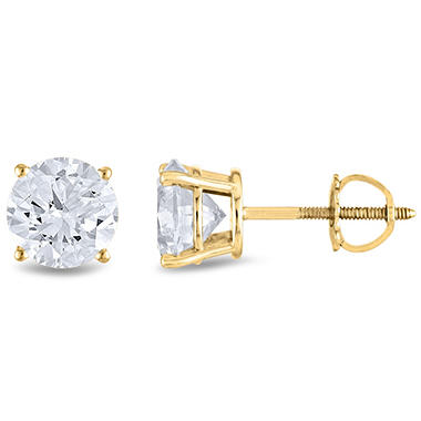 1.45 ct. t.w. Round Diamond Stud Earrings in 14k Yellow Gold (H-I, SI2)