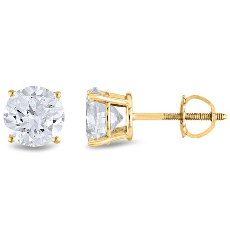 1.45 CT. T.W. Round Diamond Stud Earrings in 14k White or Yellow Gold (H-I, SI2)