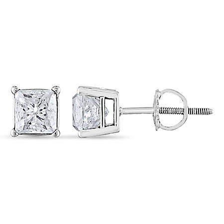 1.45 CT. T.W. Princess Diamond Stud Earrings in 14K White or Yellow Gold (H-I, SI2)