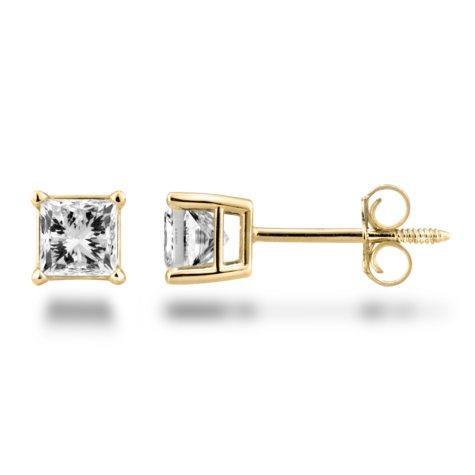 0.72 CT. T.W. Princess Diamond Stud Earrings in 14KWhite or Yellow Gold (H-I, SI2)