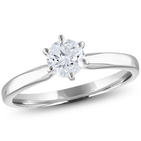 0.47 CT. T.W.. Round Diamond Solitaire Ring in 18K Gold with Platinum Head (H, VS2)