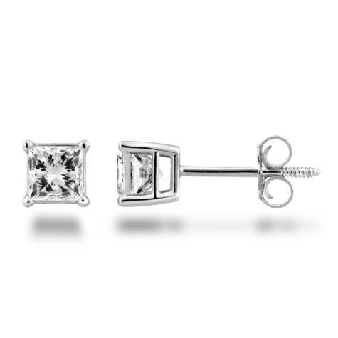 0.72 CT. T.W. Princess Diamond Stud Earrings in 14K White Gold (H-I, SI2)