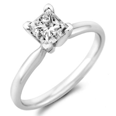 0.96 ct. Princess Diamond Solitaire Ring in 14k White Gold with Platinum Head (H-I, SI2)