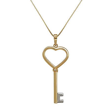 Heart Key Pendant in14K Yellow Gold