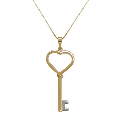 Heart Key Pendant in14K Yellow Gold